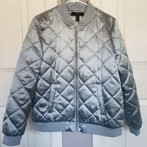 New blue satin bomber jacket from forever 21